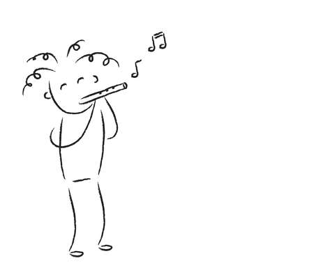 Man plays the flute on a white background. Illustration.