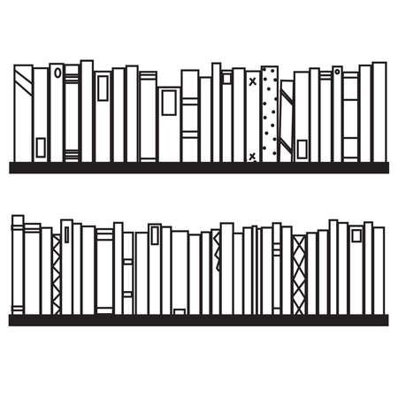 Bookshelf on a white background. Silhouette. Vector illustration.