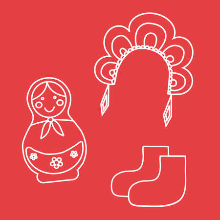 Female old Russian headdress, boots, Russian toy. Vector illustration.