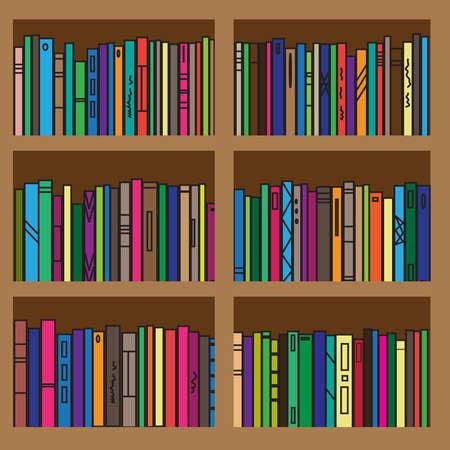 Bookcase. Collection of various literature. Vector illustration. Ilustración de vector