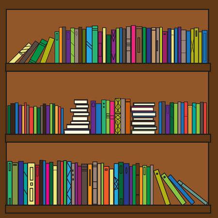 Estantería. Colección de libros de texto y revistas. Ilustración de vector.