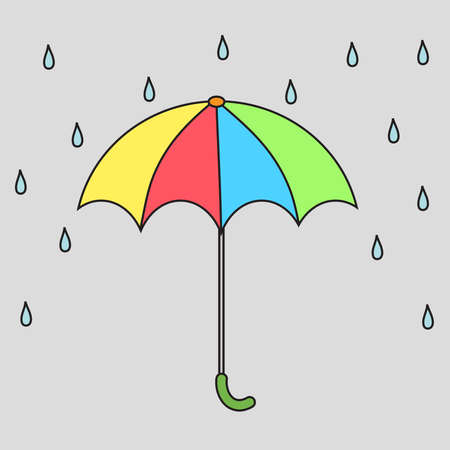 Multi-colored umbrella and raindrops. Vector illustration.