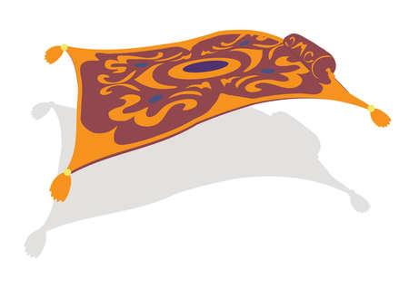 Carpet plane. Flying carpet on a white background. Vector illustration.
