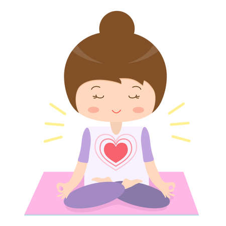 Girl is engaged in yoga sitting on the rug. Vector illustration.