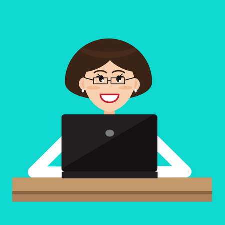 A pretty woman is sitting at a computer. Vector illustration.