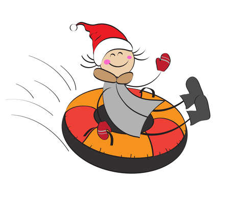 Baby girl slipping on an inflatable sled down. Tubing.Vector illustration.  イラスト・ベクター素材