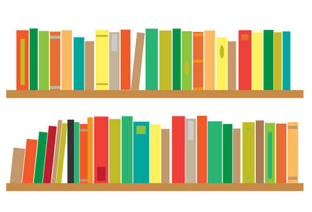 Bookshelf on a white wall. Vector illustration.