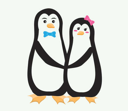 Two penguins on a white background. Vector illustration.