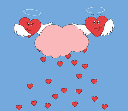 Two hearts hold a cloud from which small hearts come together. Vector illustration. Illustration