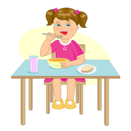Little girl eats soup at a table on a white background. Vector illustration. Illustration