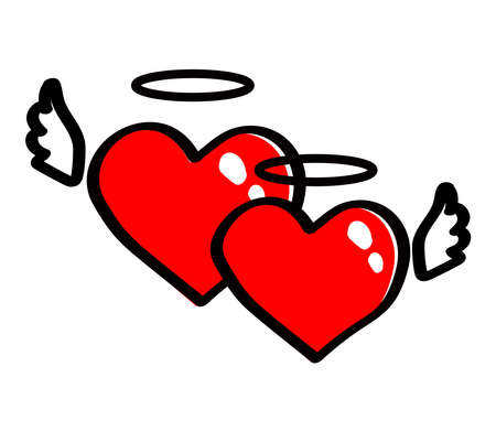 Two red hearts with wings together on a white background. Vector illustration. Ilustração