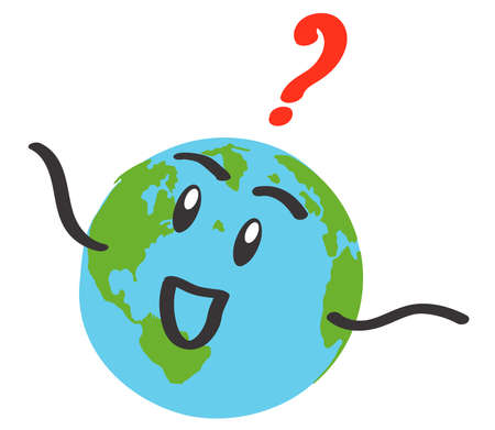 Planet earth and question mark on a white background. Vector illustration.