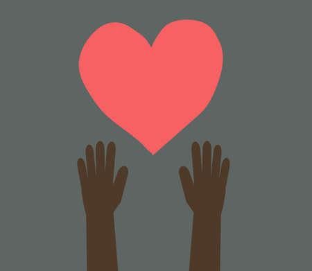 Hands of a dark-skinned child against a dark background. Vector illustration.