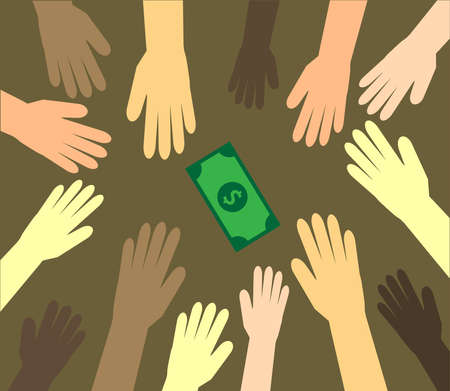 Hands of various people and dollar on a brown background. Vector illustration.