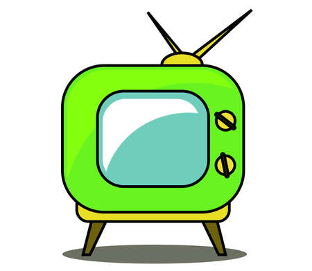 Green retro tv set on a white background. Vector illustration.