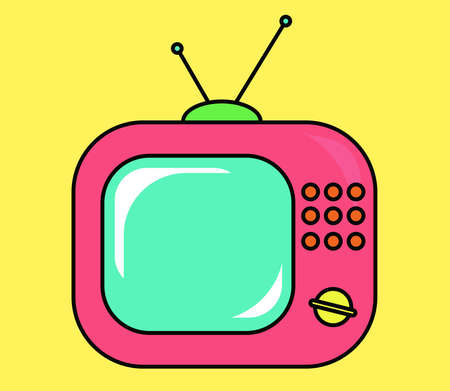 Pink retro tv set on yellow background. Vector illustration.