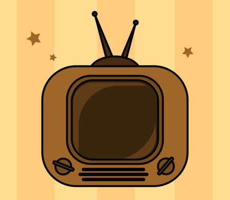 Old tv on a striped background. Vector illustration.