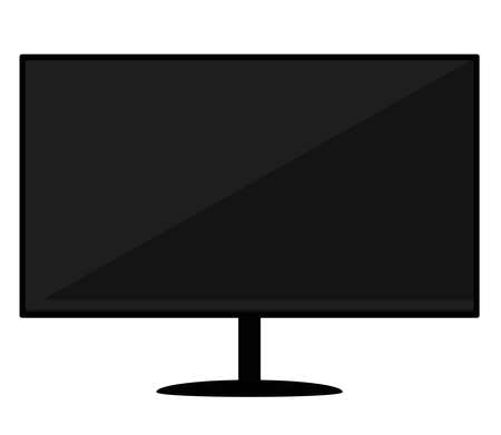 Black wide monitor on a white background. Vector illustration.
