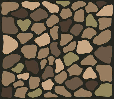 Stone texture. Wall of various stones. Vector illustration.