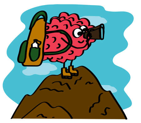 The brain stands on a mountain and looks through binoculars. Journey. Cartoon. Vector illustration.