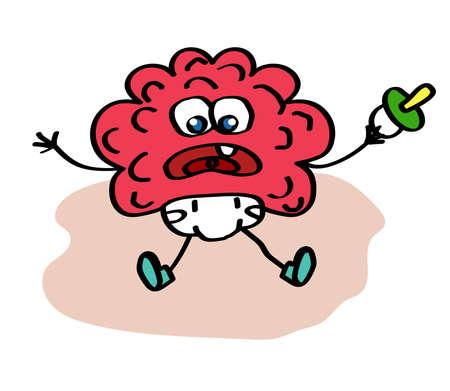 Little brain on a white background. Cartoon. Vector illustration. 스톡 콘텐츠 - 129134754