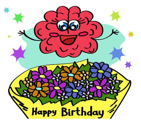 A cute brain receives a bouquet of flowers. Cartoon. Vector illustration.