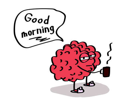 The brain is drinking coffee on a white background. Vector illustration. Stock Illustratie
