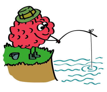 The brain is fishing. Cartoon. Vector illustration. Ilustração
