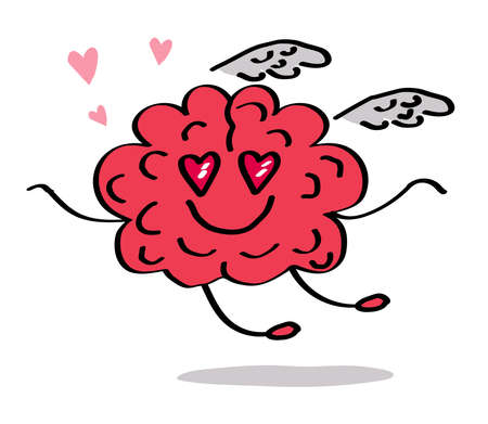 A loving brain flies on the wings of love. Vector illustration.