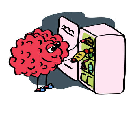 The brain empties the refrigerator at night. Vector illustration.