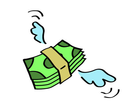 A bundle of money on a white background. Cartoon. Vector illustration.