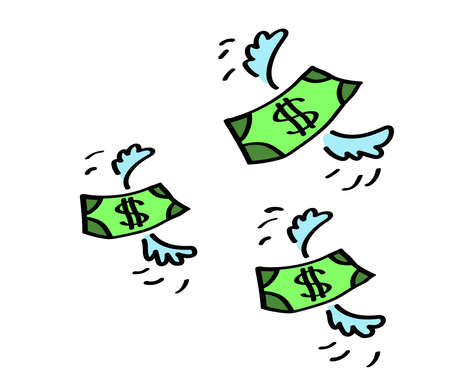 Money fly away on a white background. Cartoon. Vector illustration.