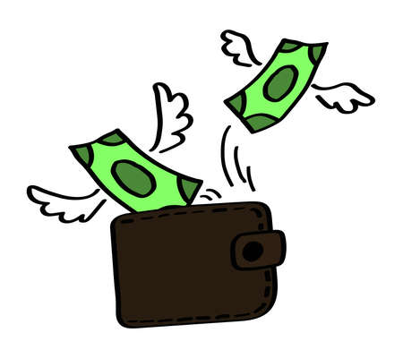 Money flies out of the wallet on a white background. Cartoon. Vector illustration.