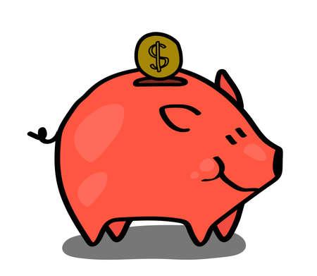 Pig piggy bank on a white background. Vector illustration.