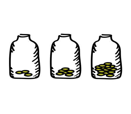 Bank and coins on a white background. Accumulation. Vector illustration. Ilustrace