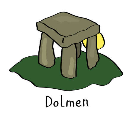Dolmen and sun on a white background. Cartoon. Vector illustration.