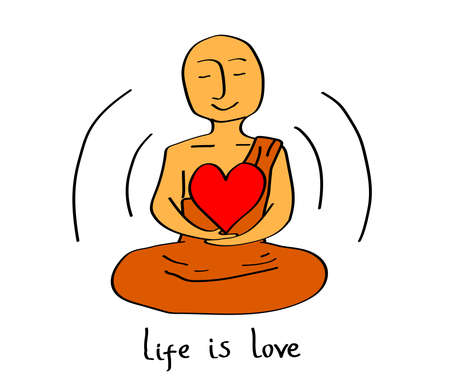 Happy Buddhist monk holds a heart. Vector illustration.