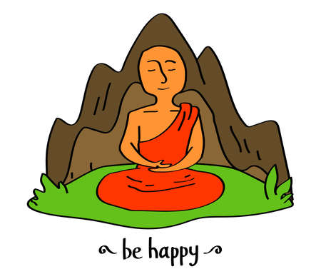 A happy Buddhist monk is meditating in the mountains. Vector illustration.