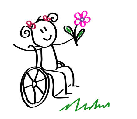 Happy child in a wheelchair holds a flower. Vector illustration.