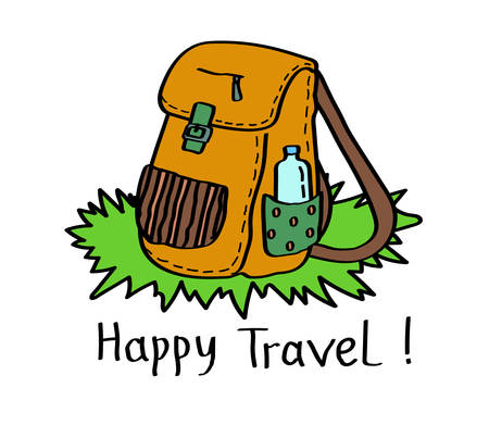Camping backpack on a white background. Vector illustration.