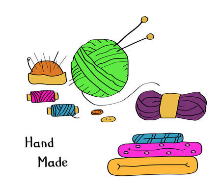 Sewing threads and a ball of thread for knitting on a white background. Set for needlework. Vector illustration. 写真素材 - 130030826