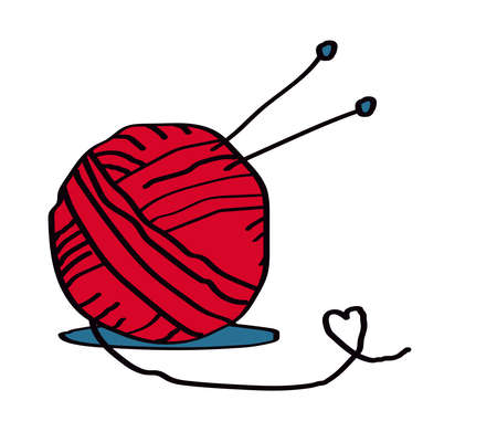A ball of thread for knitting and knitting needles on a white background. Vector illustration.