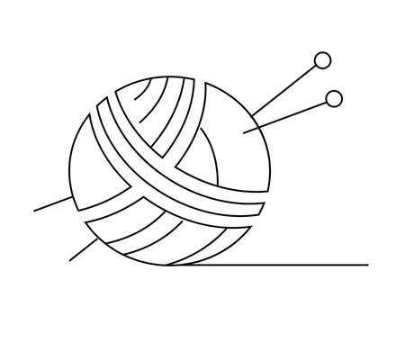 A ball of thread for knitting and knitting needles on a white background. Symbol. Vector illustration.  イラスト・ベクター素材