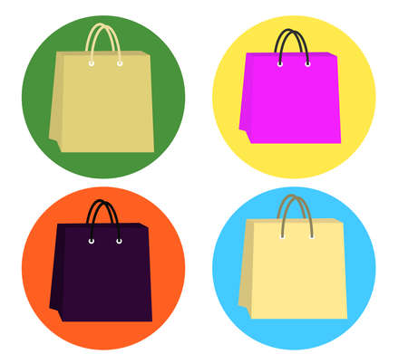 Collection of shopping bags on a round background. Vector illustration.