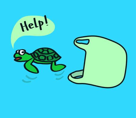 Sacchetto di plastica e tartaruga su sfondo blu. Illustrazione vettoriale.
