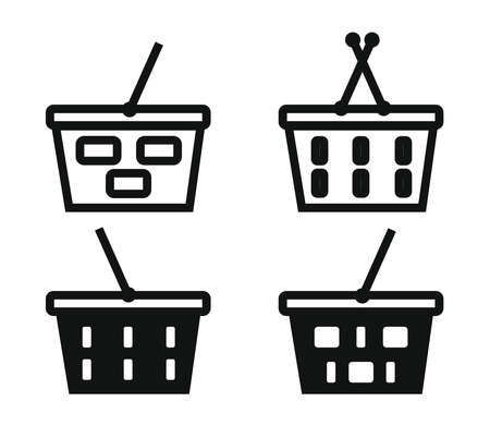 Grocery basket on a white background. Collection. Vector illustration.