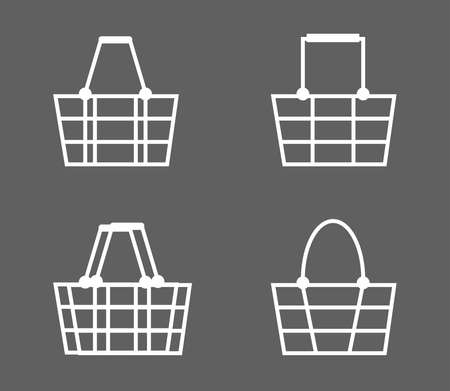 Grocery basket on a gray background. Collection. Vector illustration.