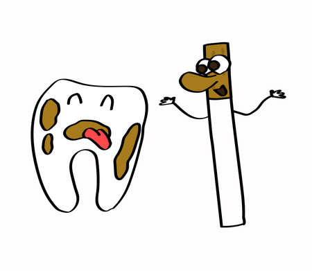 Tooth and cigarettes on a white background. Vector illustration.