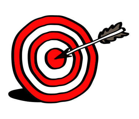 Target and arrow on a white background. Vector illustration.