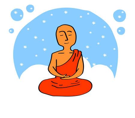Buddhist monk meditates on a blue background. Vector illustration.